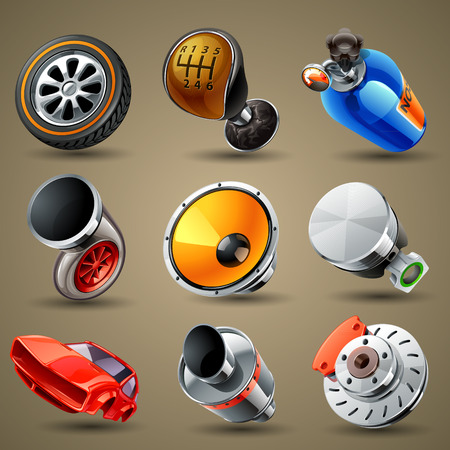 Car parts and services icons Çizim
