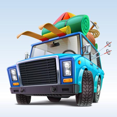 carro caricatura: coche con traje de viajes de invierno Vectores