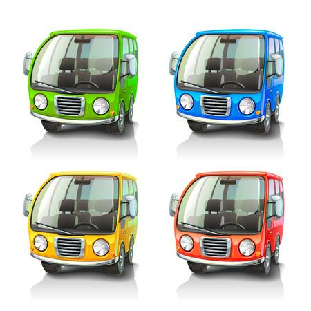mini bus: Colorful vector cars