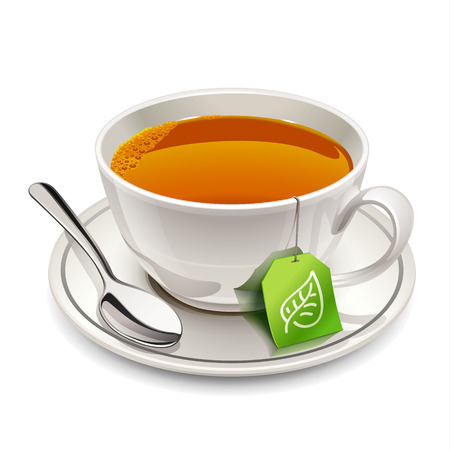 tea hot drink: Cup of tea with tea bag
