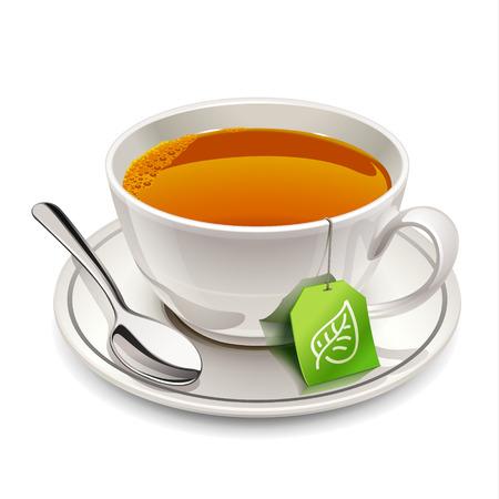 taza de t�: Taza de t� con la bolsita de t� Vectores