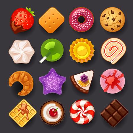 caramelos: postre conjunto de iconos Vectores