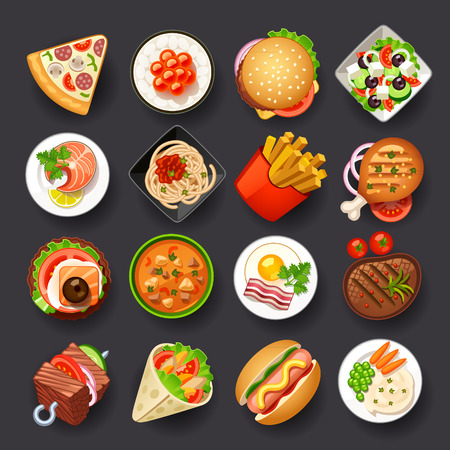 eating fast food: dishes icon set