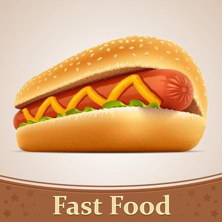 dog eating: Fast food icon - Hot dog Illustration
