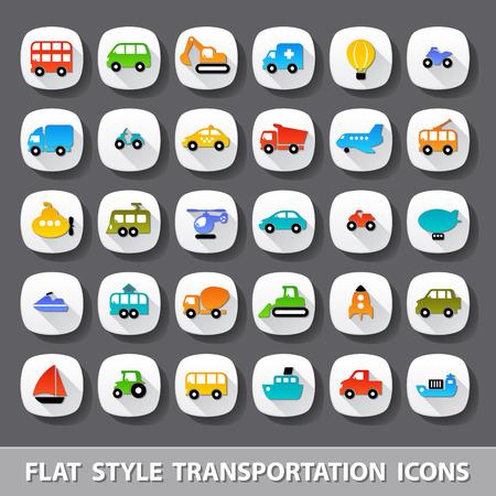 플랫 스타일의 교통 아이콘 일러스트
