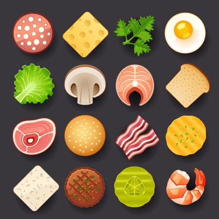 cibo set di icone