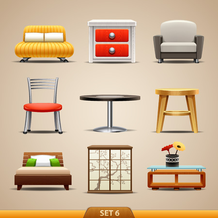home furniture: Furniture icons-set 6