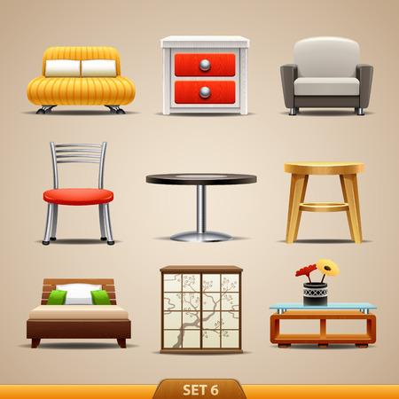 SILLA: Iconos-set de muebles 6 Vectores