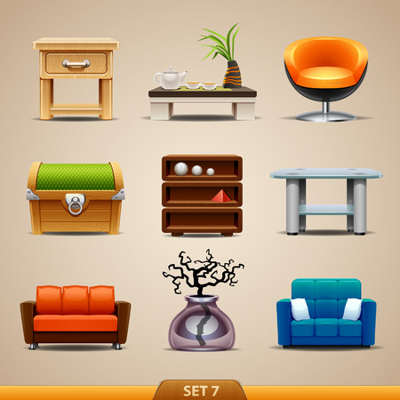Meubelen iconen-set 7 Stock Illustratie