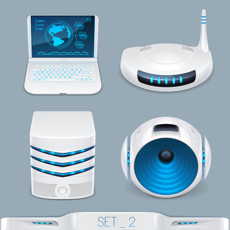 iconset: futuristic multimedia devices and technology icon-set 2