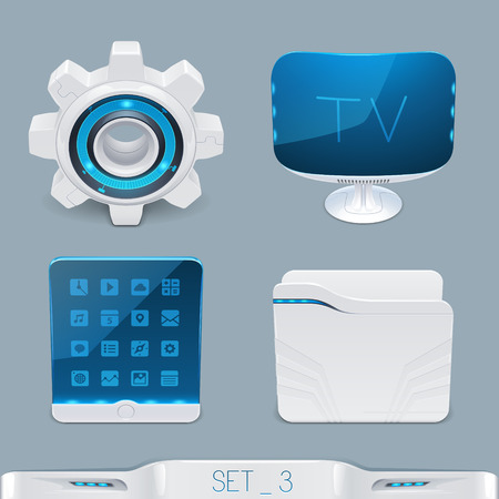rn3d: futuristic multimedia devices and technology icon-set 3