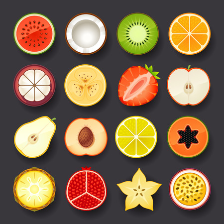 coconut: conjunto de iconos de fruta