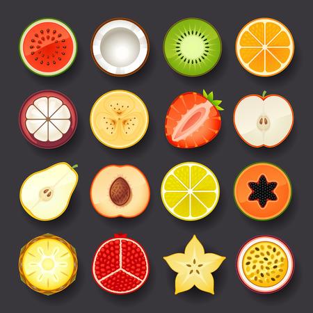 owocowy: zestaw ikon owoców
