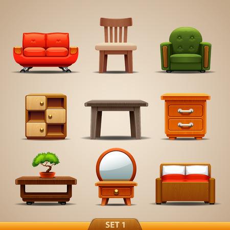 silla: Iconos-set de muebles 1