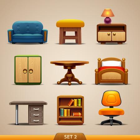 muebles de oficina: Iconos-set muebles 2