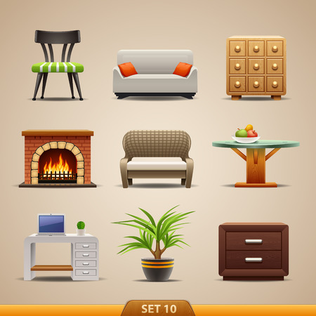 fireplace home: Furniture icons-set 10 Illustration