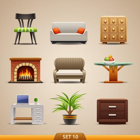 mobiliario de oficina: Muebles iconos-Set 10