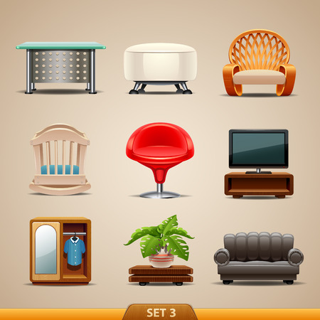 muebles de oficina: Iconos-set de muebles 3