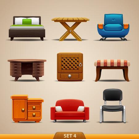 muebles de oficina: Iconos-set de muebles 4 Vectores