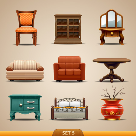 muebles de oficina: Iconos-set de muebles 5 Vectores