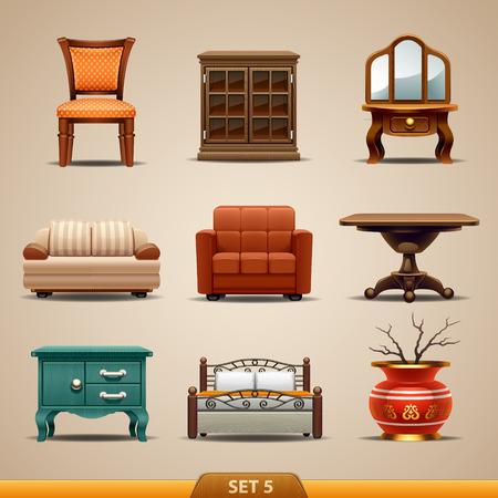 Meubles icônes-Set 5 Banque d'images - 36739414