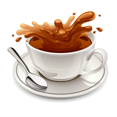 chocolate splash: Hot chocolate splash in white cup Illustration