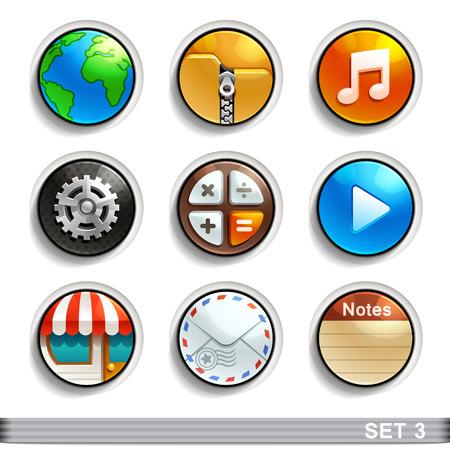 round button: round button icons-set 3