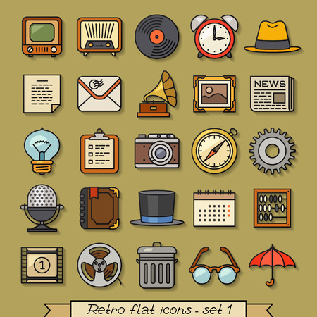 old tv: Retro flat line icons - set 1 Illustration