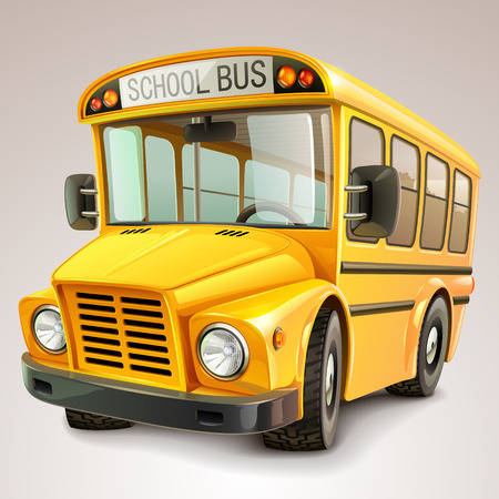 school icons: School bus vector illustration