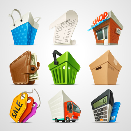 dollar bag: shopping icon set