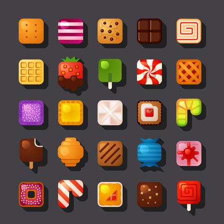 gateau: piazza dolce a forma di set di icone