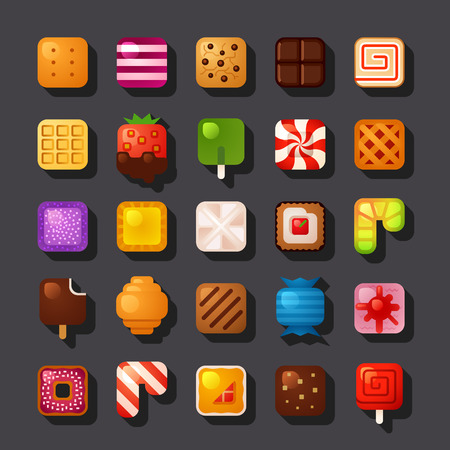 candy: square shaped dessert icon set