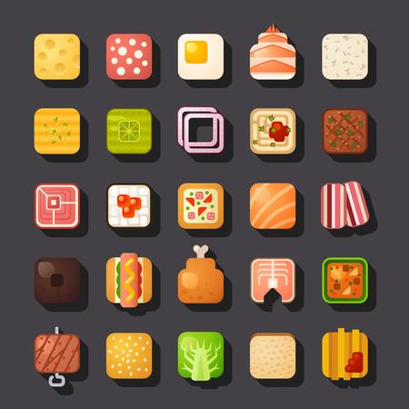 pancetta cubetti: piazza cibo a forma di set di icone Vettoriali