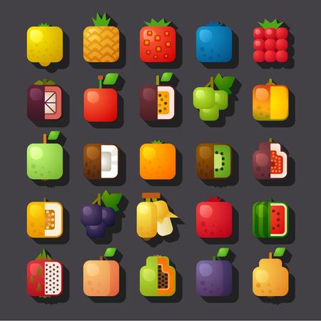 사각형 모양의 과일 아이콘 세트 일러스트