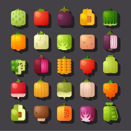 vierkant gevormde groenten icon set