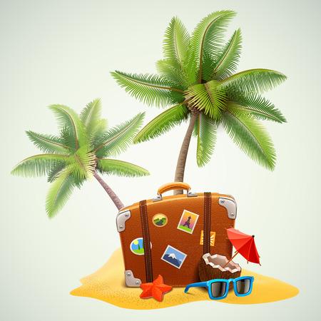 maleta: maleta de viaje en la playa con palmeras Vectores