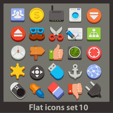 vector flat icon-set 10 Vectores