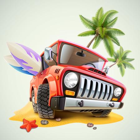 summer jeep car on beach with palm 일러스트