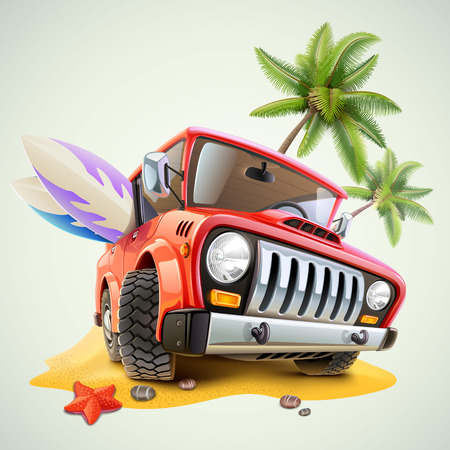 summer jeep car on beach with palm Stock Illustratie