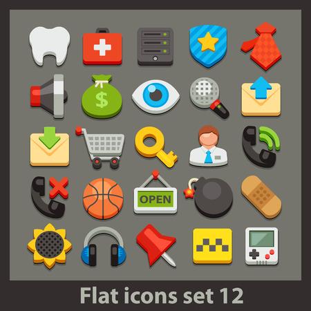 12: vector flat icon-set 12