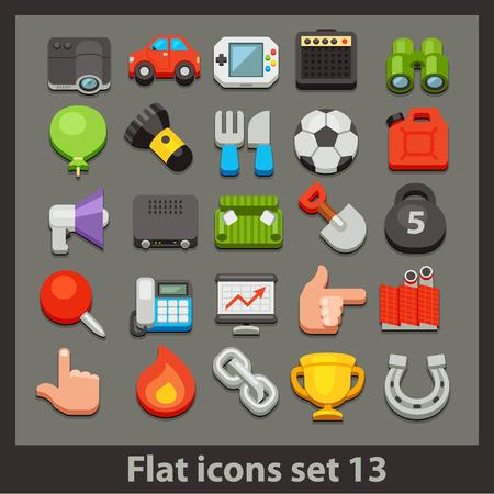 vector flat icon-set 13 Illusztráció