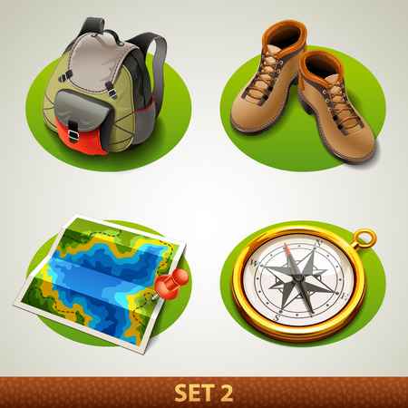 hiking boots: vector tourism icon-set 2