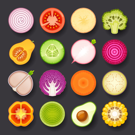 fresh vegetable: vegetable icon set Illustration