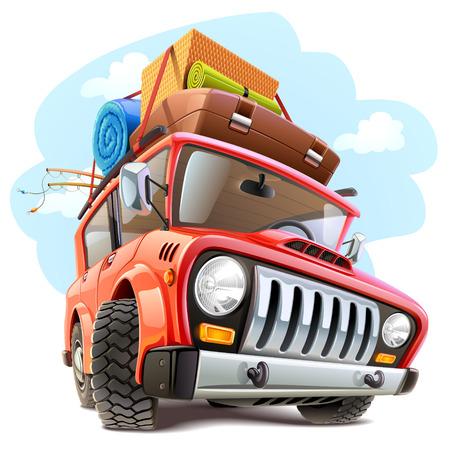 carro caricatura: Coche del recorrido del vector