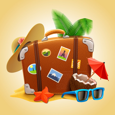 beach umbrella: vector travel Suitcase Illustration