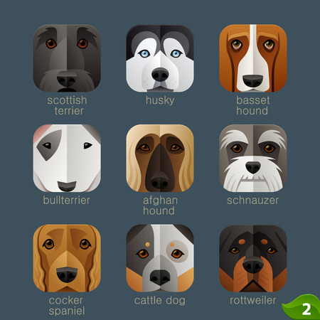 husky puppy: Animal faces for app icons-dogs set 1 Illustration