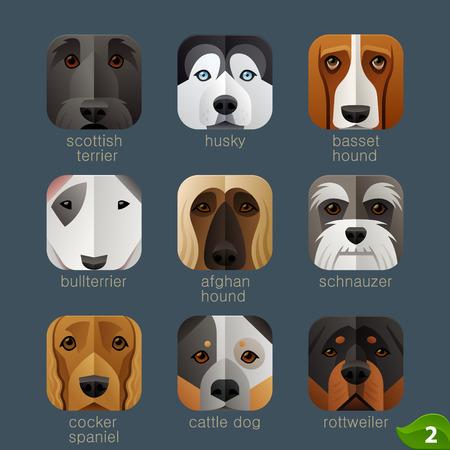 animaux zoo: visages des animaux pour les icônes d'application chiens set 1 Illustration