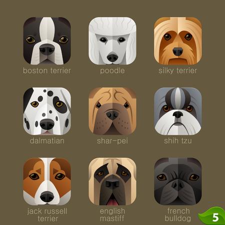 animaux zoo: visages des animaux pour les icônes d'application chiens set 4