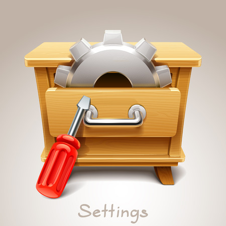 highboy: Wooden drawer illustration for settings icon
