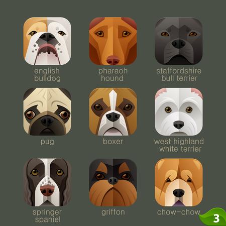 animaux zoo: visages des animaux pour les icônes d'application chiens set 2